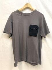 Tシャツ/L/コットン/KHK/バックポケット/着用感有/リペア有