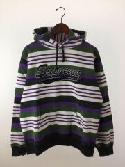18ss/striped fooded sweatshirt/パーカー/M/コットン/PUP/ボーダー