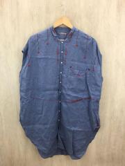 ノースリーブシャツ/1/リネン/BLU