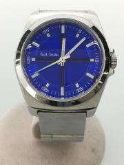 クォーツ腕時計/デジタル/ステンレス/BLU/SLV/傷有