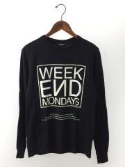 WEEKEND MONDAYS/長袖Tシャツ/S/コットン/ブラック