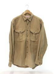 長袖シャツ/L/コットン/キャメル/全体的に色落ち有