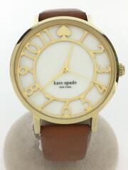 クォーツ腕時計/アナログ/レザー/WHT/BRW/0783