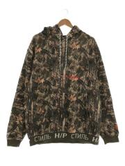 18AW/CAMO HOODED SWEATSHIRT/パーカー/L/コットン/カーキ/HMBB002F7601026