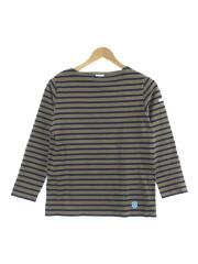 ボートネック/長袖Tシャツ/2/コットン/ブラウン/ボーダー
