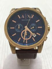 クォーツ腕時計/クロノグラフ/アナログ/レザー/ネイビー/ブラウン/AX2508