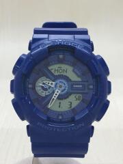 クォーツ腕時計/デジアナ/ラバー/BLU/BLU