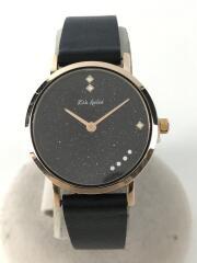 Lia Kulea/クォーツ腕時計/アナログ/レザー/BLK/BLK