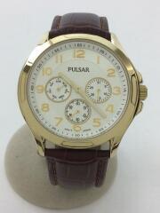 クォーツ腕時計/アナログ/レザー/WHT/BRW/中古/VD75-X089/PULSAR