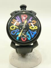 クォーツ腕時計/アナログ/レザー/BLK/ベルト削れ有/箱劣化有り