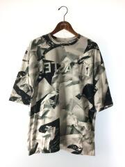 Tシャツ/M/コットン/GRY/総柄/l-u-t01-4