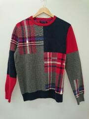 セーター(厚手)/L/コットン/RED/チェック