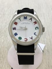 クォーツ腕時計/アナログ/ナイロン/WHT/BLK