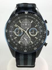 ソーラー腕時計/アナログ/ナイロン/BLK/BLK