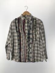 長袖シャツ/M/コットン/グレー/チェック