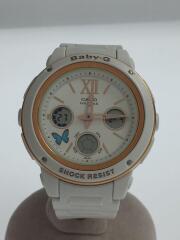 5257/クォーツ腕時計/デジアナ/ラバー/WHT/WHT
