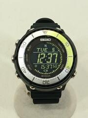 ソーラー腕時計/デジタル/ラバー/ブラック/SBEP029