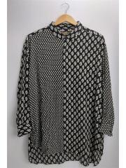 長袖シャツ/L/レーヨン/BLK/総柄/pcw-b02-502/Robes&Confections