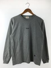 oversize logo L/S T/長袖Tシャツ/S/コットン/GRY/無地