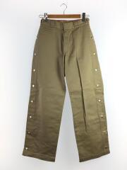 17ss/side snap wide pants/ボトム/S/ポリエステル/BEG/無地/MYDKP210