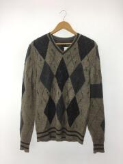 セーター(厚手)/XL/アンゴラ/GRY/総柄