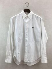 長袖シャツ/36/コットン/WHT/無地/ホワイト