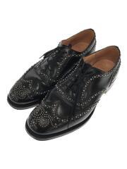 BURWOOD/バーウッド/ドレスシューズ/UK8/BLK/スタッズ/革靴/内羽根/黒