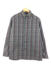ドビーチェックボックスシャツ/長袖シャツ/1/ポリエステル/BRW/チェック/108600003