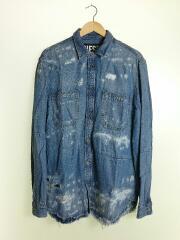 Denim Destroyed D-FRED Shirt/長袖シャツ/M/リヨセル/IDG/ダメージ加工