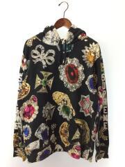 2018AW/jewels hooded sweatshirt/パーカー/L/コットン/BLK/総柄/18AW/プルオーバー