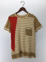 288275/Tシャツ/M/コットン/BEG/ボーダー/TEE/切替