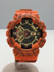 クォーツ腕時計/デジアナ/ラバー/BLK/ORN