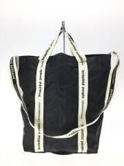 sail cloth logo tape shoulder bag/ポリエステル/BLK