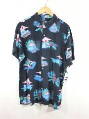 Cheers Parko Shirt/タグ付半袖シャツ/XL/レーヨン/BLK/総柄