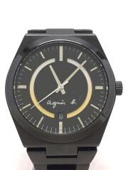 agnes b./クォーツ腕時計/アナログ/ブラック/アニエスベー