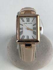 クォーツ腕時計/アナログ/ホワイト/ピンク/Y121F