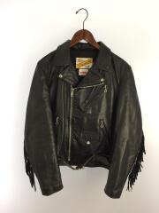chief tassel perfect jacket/ダブルライダースジャケット/S/レザー/BLK/黒