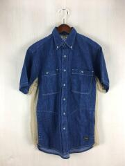 サイドメッシュタンガリー半袖シャツ/2/コットン/藍色