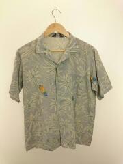 半袖シャツ/L/レーヨン/ブルー/グレー/アロハシャツ/オープンカラー/パイナップル/