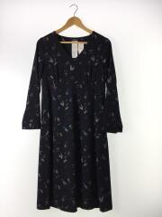ドレス/ワンピース/40/ポリエステル/ネイビー/花/鳥