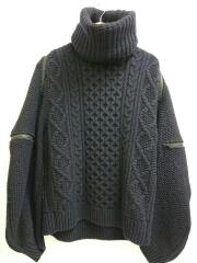 19AW/ballonsleevebackzip turtlenecksweater/46/ネイビー/0013AW19