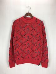 セーター(厚手)/M/ウール/RED/総柄