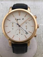 クォーツ腕時計/アナログ/レザー/WHT/NVY