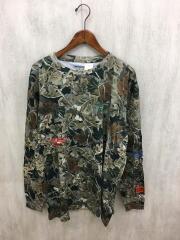 長袖Tシャツ/L/コットン/GRN/総柄/HMAB005F18721057