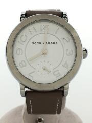 クォーツ腕時計/アナログ/レザー/WHT/BEG