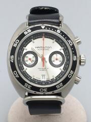 自動巻腕時計/アナログ/レザー/SLV/BLK/H357560/Pan Europ Auto/27石