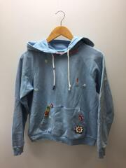 EMBROIDERY AND PATCH HOODIE/パッチワークパーカー/S/コットン/BLU/ブルー
