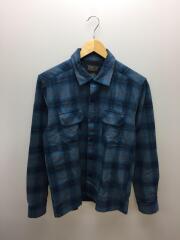 ウールオープンカラーシャツ/M/ウール/BLU/シャドーチェックシャツ