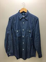 シャンブレーワークシャツ/長袖シャツ/M/コットン/IDG/日本製