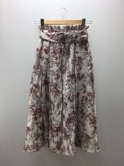 ウエストゴムベルト付フレアスカート/1/リヨセル/GRY/花柄